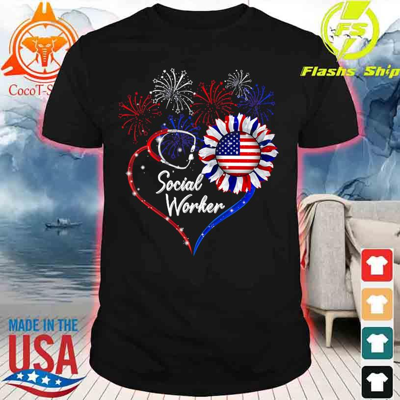 Social Worker happy 4TH of July Sunflower American shirt